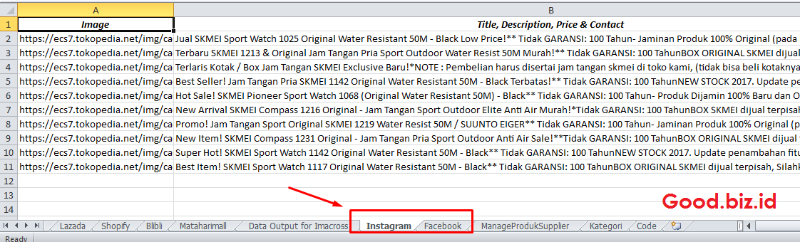 tambah data upload instagram fanpage